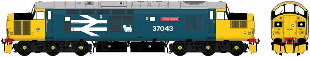 Highly detailed new model of the BR class 37 locomotives being produced in both original and refurbished form with headcode boxes, sealed beam headlights or new light cluster units as appropriate for each locomotive modelled.British Rail class 37/0 locomotive 37043 is modelled in mid 1980s large logo blue livery with large West Highland white terrier logo and single car type headlight, as running from Glasgow Eastfield shed on the West Highland line to Fort William and Mallaig.