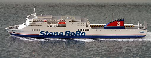A 1/1250 scale waterline model of Stena Egeria by Rhenania Junior RJ342 SE.