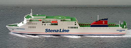 A 1/1250 scale waterline model of Stena Forwarder by Rhenania Junior RJ342 SF. The current name for this ship is California Star.