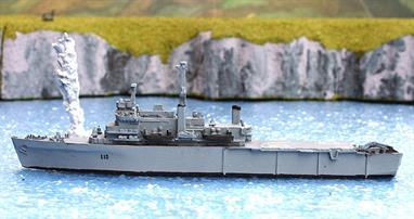 A 1/1250 scale waterline metal model of HMS Fearless L10 at the time of the Falklands campaign in 1982 by Albatros SM Alk335.