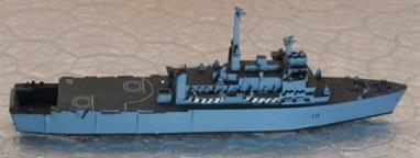 A 1/1250 scale waterline metal model of HMS Intrepid, L11, sister ship of HMS Fearless