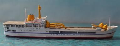 Nicely detailed diecast miniature model of the Royal Fleet Auxiliary landing ship logistics (LCL) RFA Sir Lancelot in later 1970s/pre-Falklands finish.All six of the Lancelot class landing ships deployed to the South Atlantic for the Falklands campaign.Model is 10.5cm Long
