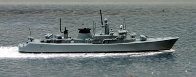 A 1/1250 scale second-hand model of the frigate Wandelaar of Belgium in 1978 by Argos AS-2A. The model is in very good condition, see photograph.