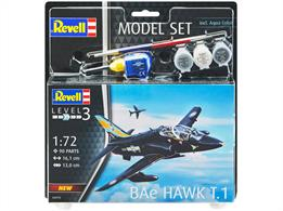 Revell 64970 1/72nd BAe Hawk T1 Trainer Aircraft Gift SetNumber of Parts 90  Length 161mm  Wingspan 130mm