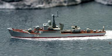 A 1/1250 scale second-hand waterline model of a Riga class frigate of 1956 by Wiking. This model has been re-fitted with a new mast and red brown decks and a pennant number has been applied to the hull, see photograph.