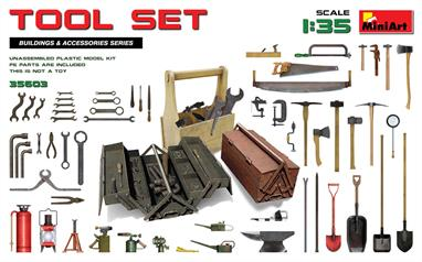 The kit includes models of tools in 1/35 scale: backsword, file, saws, hammers, axes, clamps, shovels, crowbars, oil cans, gas-burners, fire extinguisher, light fixture, wrenches, screwdrivers, tool boxes.