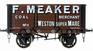 Detailed model of a 7 plank open wagon following the RCH 1887 specifications and modelled from the production of the Gloucester Railway Carriage and Wagon Company. Finished in grey livery of Weston-super-Mare coal merchant F Meaker.British Manufacturing. Dapol plan to be producing these models from their factory unit in Chirk.