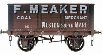 Detailed model of a 7 plank open wagon following the RCH 1887 specifications and modelled from the production of the Gloucester Railway Carriage and Wagon Company. Finished in grey livery of Weston-super-Mare coal merchant F Meaker. Weathered finish.British Manufacturing. Dapol plan to be producing these models from their factory unit in Chirk.