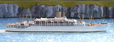 A 1/1250 scale model of Oronsay by Albatros SM number AL291A in all white cruising livery after the P&O take over of Orient Line.
