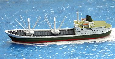 A 1/1250 scale metal waterline model of the RMS St Helena (1978-90) by Albatros SM AL292.When new in 1963, 'North Vancouver' worked around British Columbia and Alaska but was re-named and sent to the South Atlantic to provide a mail service to link the UK, St Helena, Tristan da Cunha, Ascension Island and South Africa when Union Castle Line ceased trading in 1978. She was replaced in 1990 by another St Helena, the last Royal Mail Ship in service that soldiered on until 2017.