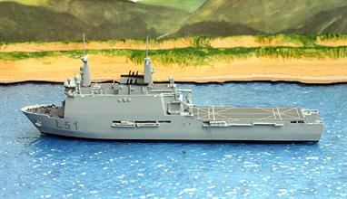 A 1/1250 scale waterline metal model of the Spanish landing ship Galicia by Albatros SM Alk623.