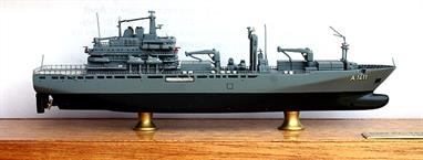 A 1/1250 scale second-hand full-hull model of the German task force supply ship Berlin A1411 by Classic Ships CL.CS41.VR. This model is in excellent condition but missing the original dust cover, see photograph.