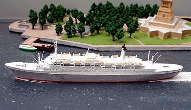 A 1/1250 scale metal waterline model of Rotterdam (V) of Holland America Line from 1959 by CM Miniaturen CM-KR143.
