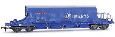 Highly detailed model of the internationally registered JIA china clay covered hopper wagons operated by Imerys to convey Cornish china clay to consumers in mainland Europe via the Channel Tunnel.Model of wagon number 33-70-0894-010-4 is finished in Imerys blue livery with light weathered from the china clay.
