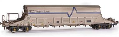 Highly detailed model of the ECC International PBA Clay Tiger covered hopper wagons used for delivery of Cornish china clay to consumers in the UK.Model of wagon number TRL11627 is finished in lightly weathered ECC white livery.
