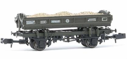 This side tipping ballast wagon design was produced by Metro-Cammell in the 1930s, with the ability to discharge the load to either side of the track. A batch being purchased by the GWR, typically they are used for base ballasting before relaying of a parallel track and spoil removal to a dump site.The type was adopted as a standard design by the British Railways civil engineer in the 1950s with the addition of vacuum train brakes to the majority of the BR built wagons and assigned code name 'Mermaid'.This model is finished in the later standard departmental olive green livery with TOPS code ZJV.