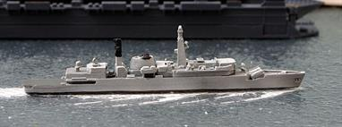 A 1/1250 scale second-hand model of HMS Brazen by Skytrex Triton R1042. This model has been assembled from a kit and the casting has a problem with slight mis-alignment between the upper and lower hull but the paint finish is good, see photograph.