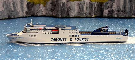"A 1/1250 scale waterline model of the ferry ""Cartour"" when operating for Caronte & Tourist from approximately 2001-2007. The model is made by Rhenania Junior and was first made in 2020."