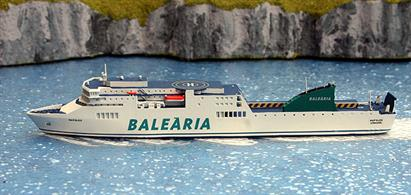 A 1/1250 scale waterline model of the Balearia Line ferry Napoles modelled by Rhenania Junior as she has looked since 2015, model number RJ342N.