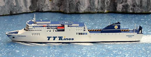 A 1/1250 scale waterline model of TTT Line ferry Partenope by Rhenania Junior RJ342P.