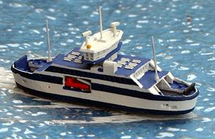 A 1/1250 scale waterline model of Uraniborg the double-ended ferry operating between Landskrona and Ven for the Swedish company Ven-Trafiken since 2012. The model is by Rhenania Junior RJ339.