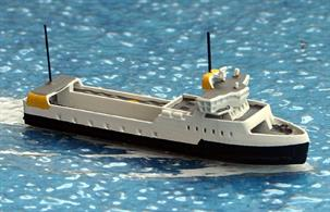 A 1/1250 scale waterline model of Ellen, a small ferry serving islands south of Fyn, Denmark since 2019. This model is made by Rhenania Junior Miniaturen, RJ345.