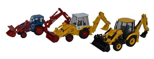 Oxford Diecast 76SET76 1/76th 3 Piece JCB Anniversary Set