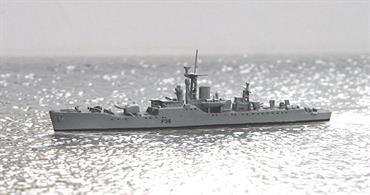 The Whitby class Type 12 Frigate  included 6 ships of the Royal Navy. Designed as anti-submarine frigates. WITHBY was built byCammell Laird & Co and was commisioned in 1957. Max. 2600t displacement, 110 x 12m, max. 30 knots turbine drive via 2 screws, crew 152,later 225 people. 1977 sold for scrapping.