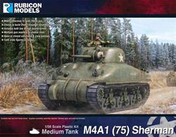This kit builds a M4A1 Sherman tank fitted with the short barlel 75mm gun.Optional parts allow the model to be built as a Direct Vision (DV) or Small hatch (SH) version with a choice of low or high bustle turret and multiple gun manlet options. Open or closed hatches can be fitted and tank crew figures are supplied.