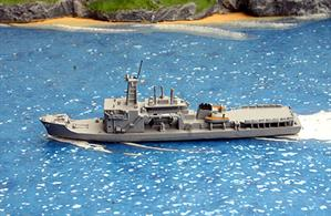 A 1/1250 scale waterline second-hand model of JMSDF Chiyoda, a salvage and rescue ship by Hai 340. This model is in excellent condition and finished in light grey overall, see photograph.