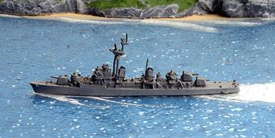 A 1/1250 scale second-hand waterline model of JMSDF Harukaze a Japanese destroyer by Hai102. This model is in reasonable condition but the plastic tripod mast seems to have had the struts re-attached too far forward, see photograph.