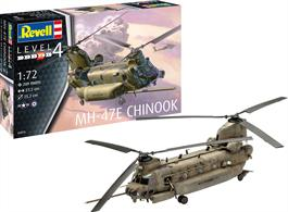 Revell 03876 1/72nd MH-47 Chinook Helicopter Kit Number of parts:209, Length:272 mm, Width:69 mm, Rotor Diameter:252 mm