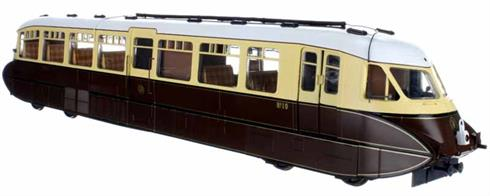 Highly detailed model of the GWR streamlined express railcars from the 1936 batch, numbers 8-17, built by the Gloucester RCW.This model is finished in original 1930s chocolate & cream livery with shirtbutton monogram logo.Decorated Prototype Sample of 7D-011-002 Shown For Illustration Only Expected in shops End Q1 2021