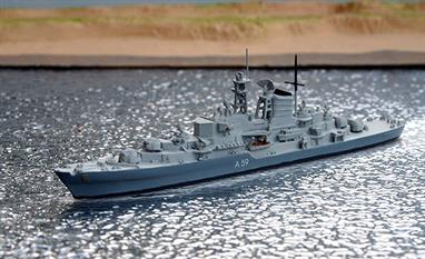 A 1/1250 scale second-hand model of the German training ship Deutschland A59 by Albatros Alk6. This model is in excellent condition and is finished in two-tone grey with decasl for A59 in white on both sides, see photograph.