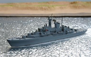 A 1/1250 scale second-hand metal model of the German training ship Deutschland A59 by Hansa S78. The model is in good condition in medium grey overall, see photograph.