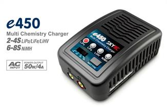 SkyRC e450 Charger is an economic, high-quality 100-240V AC balance charger, designed for charging LiPo, LiFe and LiHV batteries from 2-4 cells in balance mode. It can also charge 6-8S NiMH batteries. The circuit power is 50W and max charge current can reach to 4A.