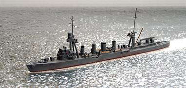 A 1/1200 scale  second-hand model of IJNS Sendai, light cruiser 1941 by Superior 405J. This model is in very good condition in Japanese dark grey with red waterline, see photograph.