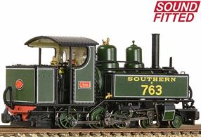 DCC and sound fitted OO9 narrow gauge model of a WW1 WD/ROD Baldwin 4-6-0T locomotives finished in Southern Railway Maunsell green livery for servioce on the Lynton & Barnstaple Railway with the name SID.