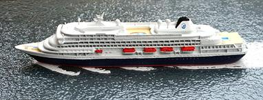 A 1/1250 scale metal model of Prinsendam (IMO 8700280) from 2002 onwards by CM Miniaturen CM-KR 405.