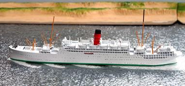 A 1/1250 scale waterline model of the Cunard Liner Carinthia in cruising livery from 1935-39 by CM Miniaturen CM441.