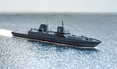 A 1/1250 scale waterline metal model of the Multi-Role Combat Ship (MKS 180) for the German Navy. An initial batch of four ships have been ordered and the first is expected to enter service in 2027. These ships are intended to replace the Brandenburg class frigates already in service. They are designed to hold mission modules to equip them for special tasks within the range that existing ships have been called upon to perform over the last 30 years.