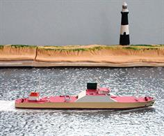 A 1/1250 scale metal waterline model of Ohryu Maru, a Ro-Ro steel coil carrier by HB Models HB/C-57.