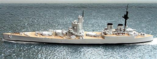 "A 1/1250 scale second-hand model of a British battleship design project for a 16"" battleship design to comply with the Washington Treaty but based more closely on the N3 battleship design than were the two Nelson class which were actually built."