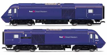 At the beginning of April 2006, FirstGroup, having secured the newly combined Greater Western franchise, unveiled a proposed new livery with a graduated blue to purple body colour and horizontal dynamic lines. Originally applied to both coaching stock and power cars, upon refurbishment the power cars received a modified livery of solid blue/purple, minus the dynamic lines This train pack features representations of power cars No. 43087 '11 Explosive Ordnance Disposal Regiment Royal Logistics Corps' and No.43098 in First Great Western plain blue livery.