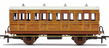 This six wheeled coach is a representation of the many which served on the London and North Eastern Railway (LNER) having been inherited form the Great Northern Railway (GNR). Small coaches such as this six wheeled coach proved especially good at branch line work where their small size enabled the traversing of tight radius curves, whilst lower passenger numbers meant their small size was more acceptable and enabled trains to be hauled by smaller engines.This LNER coach is modelled as having step boards to enable access at stations with low platforms and oil lamp lighting. This model also features our new Maglight system which allows coach lights to be turned on and off using a magnetic wand, removing the need for track pick-ups which would increase rolling resistance.