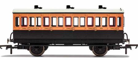 This four wheeled coach is a representation of the many which served on the London and South Western Railway (LSWR) in the late 19th and early 20th century. Four wheeled coaches proved especially good at branch line work where their small size enabled the traversing of tight radius curves, whilst lower passenger numbers meant their small size was more acceptable and enabled trains to be hauled by smaller engines.This LSWR coach is modelled as having step boards to enable access at stations with low platforms and oil lamp lighting.