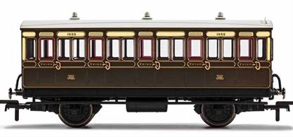 This four wheeled coach is a representation of the hundreds which served on the GWR from the Victorian era onwards. Four wheeled coaches proved especially good at branch line work where their small size enabled the traversing of tight radius curves, whilst lower passenger numbers meant their small size was more acceptable and enabled trains to be hauled by smaller engines.This GWR coach is modelled as having step boards to enable access at stations with low platforms and gas lighting.