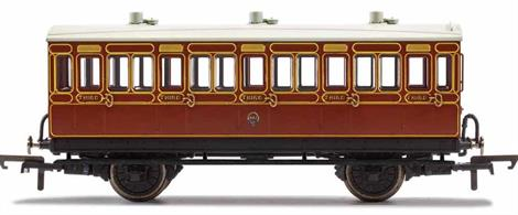 This four wheeled coach is a representation of the many which served on the London, Brighton and South Coast Railway (LB&SCR) in the late 19th and early 20th century. Four wheeled coaches proved especially good at branch line work where their small size enabled the traversing of tight radius curves, whilst lower passenger numbers meant their small size was more acceptable and enabled trains to be hauled by smaller engines.This LB&SCR coach is modelled as having step boards to enable access at stations with low platforms and oil lamp lighting.
