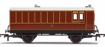 This four wheeled coach is a representation of the many which served on the London, Brighton and South Coast Railway (LB&SCR) in the late 19th and early 20th century. Four wheeled coaches proved especially good at branch line work where their small size enabled the traversing of tight radius curves, whilst lower passenger numbers meant their small size was more acceptable and enabled trains to be hauled by smaller engines.This LB