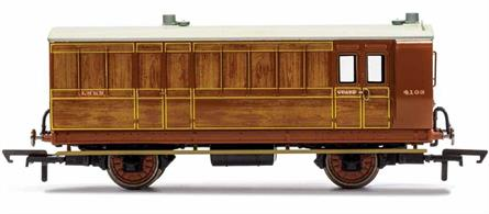 This four wheeled coach is a representation of the many which served on the London and North Eastern Railway (LNER) having been inherited form the Great Northern Railway (GNR). Small coaches such as this four wheeled coach proved especially good at branch line work where their small size enabled the traversing of tight radius curves, whilst lower passenger numbers meant their small size was more acceptable and enabled trains to be hauled by smaller engines.This LNER coach is modelled as having step boards to enable access at stations with low platforms and oil lamp lighting.